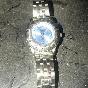 Relic Wet Light Blue  Face Twist Bezel Watch WORKS